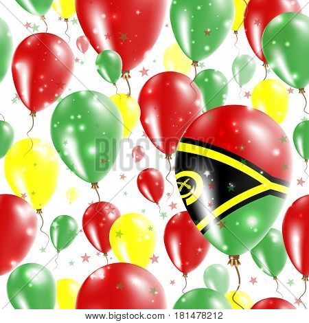 Vanuatu Independence Day Seamless Pattern. Flying Rubber Balloons In Colors Of The Ni-vanuatu Flag.