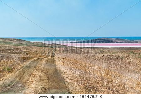 Road to red salt lake in Crimea Russia