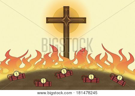 Attack On Christianity Flames And Bombs Christian Cross