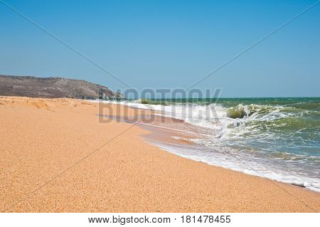 Idyllic Sandy Beach On The Coast Of Crimea, Russia
