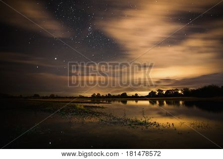 Beautiful night starry landscape. Stars reflected in the water. Astrophotography. Clear night starry sky. Slow shutter speed. The spectacular night sky. Night river