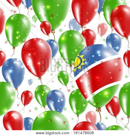 Namibia Independence Day Seamless Pattern. Flying Rubber Balloons In Colors Of The Namibian Flag. Ha