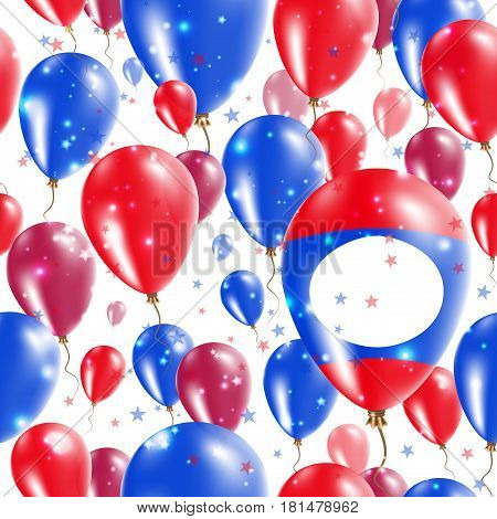 Laos Independence Day Seamless Pattern. Flying Rubber Balloons In Colors Of The Laotian Flag. Happy