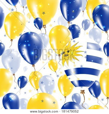 Uruguay Independence Day Seamless Pattern. Flying Rubber Balloons In Colors Of The Uruguayan Flag. H