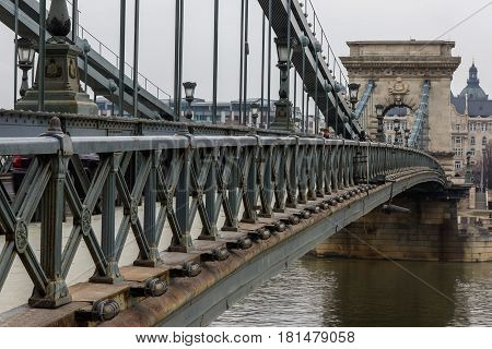 Looking along Chain Bridge in Budapest, Hungary.