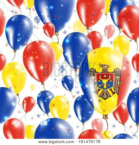 Moldova Independence Day Seamless Pattern. Flying Rubber Balloons In Colors Of The Moldovan Flag. Ha