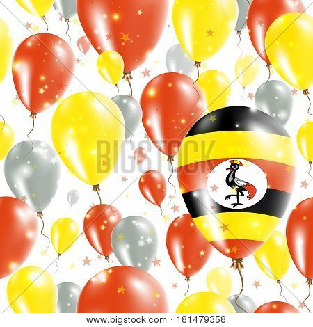 Uganda Independence Day Seamless Pattern. Flying Rubber Balloons In Colors Of The Ugandan Flag. Happ