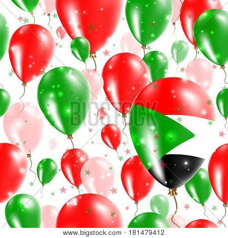 Sudan Independence Day Seamless Pattern. Flying Rubber Balloons In Colors Of The Sudanese Flag. Happ