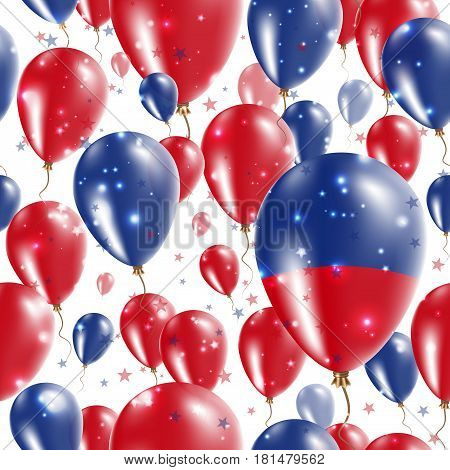 Haiti Independence Day Seamless Pattern. Flying Rubber Balloons In Colors Of The Haitian Flag. Happy
