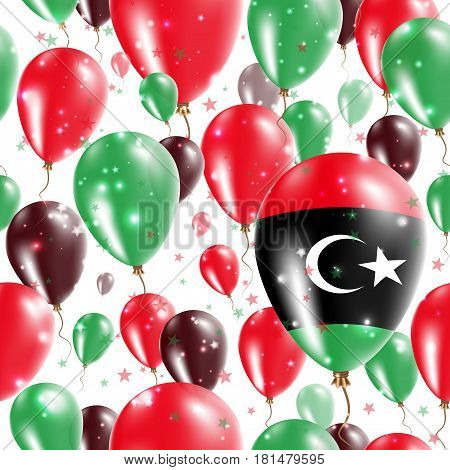 Libya Independence Day Seamless Pattern. Flying Rubber Balloons In Colors Of The Libyan Flag. Happy