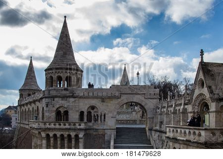 The beautiful architecture of Fishermans Bastion on Castle Hill in Budapest.