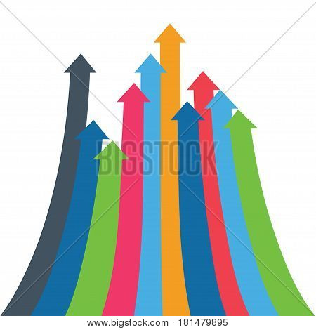 Infographic vector arrow. 3D simple background for your presentation. Arrows of growth, success, sales volume increase, demographic increase. Business financial infographics for presentation, web site.
