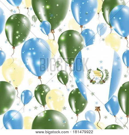 Guatemala Independence Day Seamless Pattern. Flying Rubber Balloons In Colors Of The Guatemalan Flag