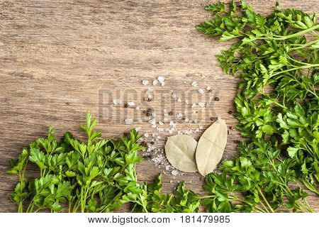 Black red pepper salt and parsley on rustic wooden table with spase for text