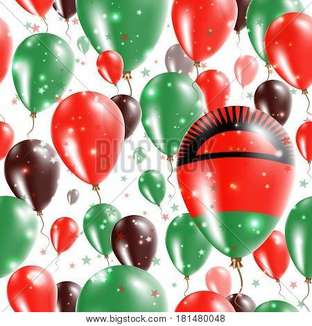Malawi Independence Day Seamless Pattern. Flying Rubber Balloons In Colors Of The Malawian Flag. Hap