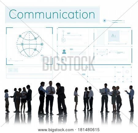 Business people connected with global communications network