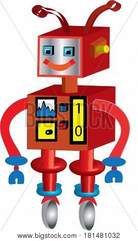 3D Retro cute robot illustration on white background.
