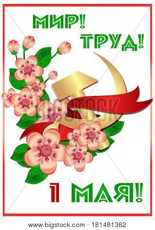 Card for day of Spring and Labor. Mayday card with branch of cherry flowers and russian symbol of labor gold hammer and sickle. Russian translation: Peace Labor 1 May. Vector illustration
