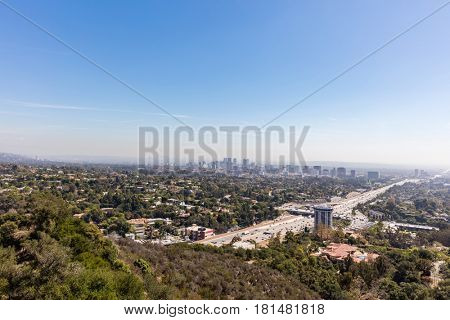 Hollywood freeway in Los Angeles, California through the San Fernando valley