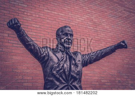 A statue of Bill Shankly outside Anfield the home of Liverpool FC. Shankly is arguably the most famous figure in Liverpool Football Club's illustrious history.