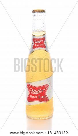 IRVINE CA - APRIL 10 2017: Miller High Life bottle. High Life a pilsner style beer is Millers oldest brand entering the market in 1903