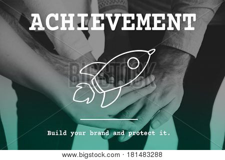 Achievement success growth hands support together