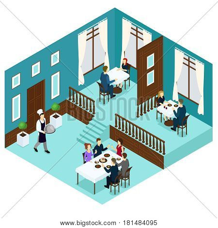 Isometric restaurant dining room concept with visitors sitting at tables and chef serving his special dish vector illustration