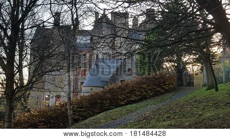 Castle and and outer buildings in the forest