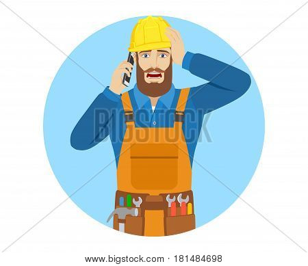 Worker talking on the mobile phone and grabbed his head. Portrait of worker in a flat style. Vector illustration.