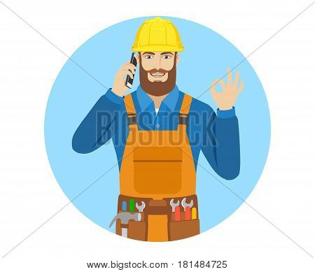 Worker talking on the mobile phone and shoing a okay hand sign. Portrait of worker in a flat style. Vector illustration.