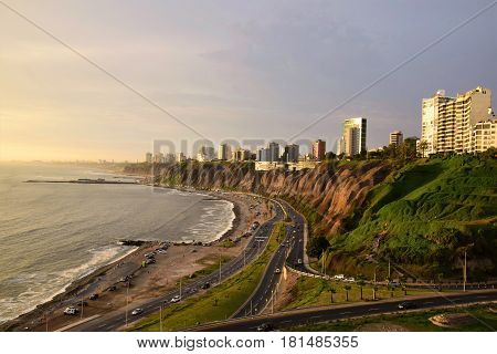 View of the Coastline Miraflores from Barranco a district in the south of Lima, Peru