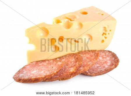 Cheese and Sausage isolated on white background