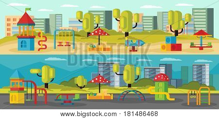 Kids playground horizontal banners with carousels swing slides rockets sandboxes hills on cityscape vector illustration