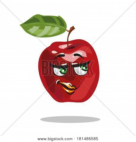 Cartoon apple personage looking smart with smile vector