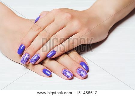Purple Nail Art With Pink Floral Pattern