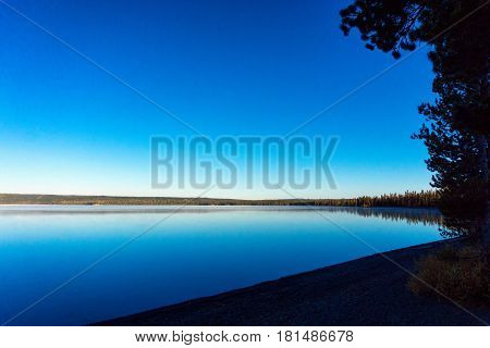View of Lewis Lake in the southern part of Yellowstone National Park