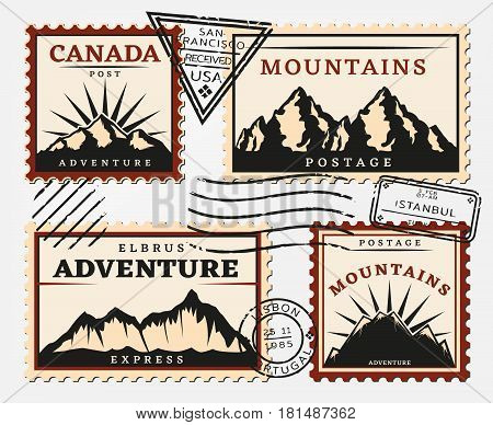 Vintage postage stamps set with mountains and round triangular rectangular postmarks isolated vector illustration