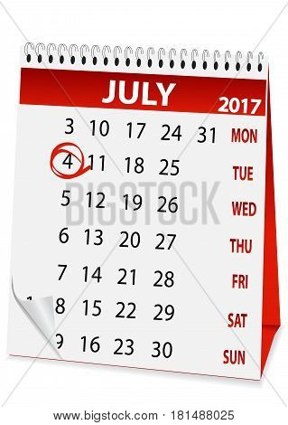 icon in the form of a calendar for Independence Day on July 4 2017