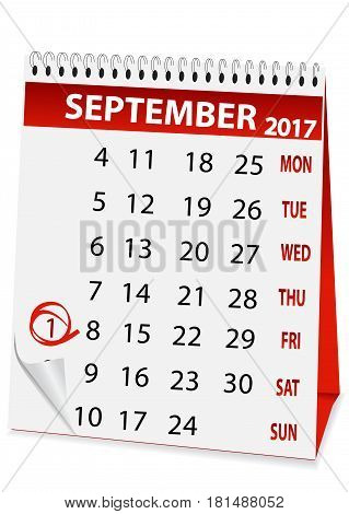 icon in the form of a calendar for September 1