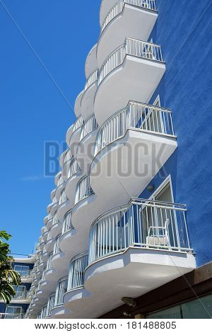 The building of hotel and balconies Costa Dorada Spain