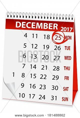 icon in the form of a calendar for Christmas