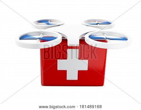 3d renderer image. Drone carrying a first aid kit. Delivery concept. Isolated white background.