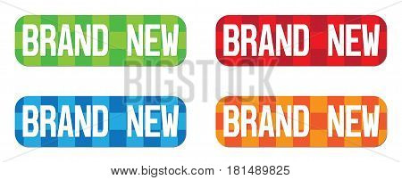 Brand New Text, On Rectangle, Zig Zag Pattern Stamp Sign.