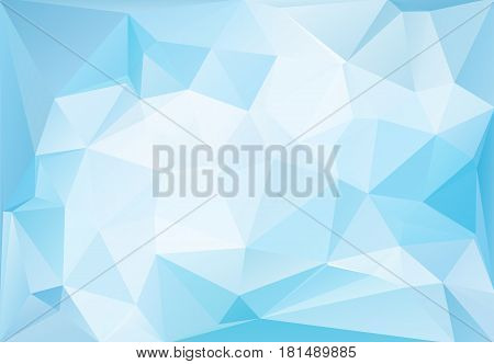 Abstract blue ice low polygonal pattern. Vector illustration. Bright magic blueish futuristic horizontal background.