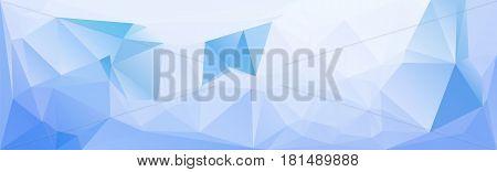 Horizontal header blue lowpolygonal texture template. Vector illustration. Vibrant blueish banner template. Triangular mosaic pattern.