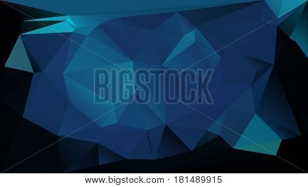 Dark blue low polygonal texture abstract vector background. Gradient futuristic space backdrop. Horizontal layout blueish polygons.