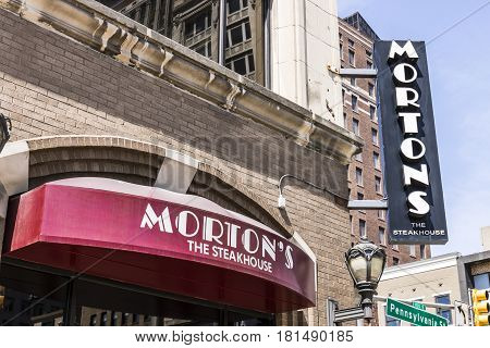 Indianapolis - Circa April 2017: Morton's The Steakhouse Downtown Restaurant. Morton's is a legendary steakhouse with its origins in Chicago I
