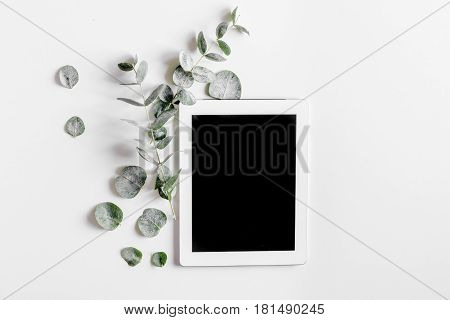 spring with morden green herbal mockup and tablet on white desk background top view