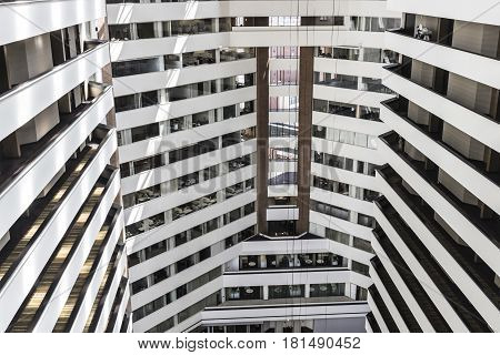 Indianapolis - Circa April 2017: Hyatt Regency and PNC Center interior. This structure features a hotel restaurant and bank I