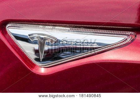 Indianapolis - Circa April 2017: Tesla Model S Signature Badge. Tesla designs and manufactures the Model S electric sedan X